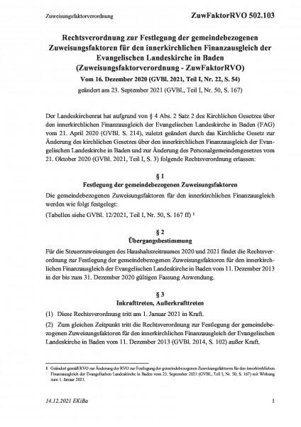 502.103 Zuweisungsfaktorverordnung