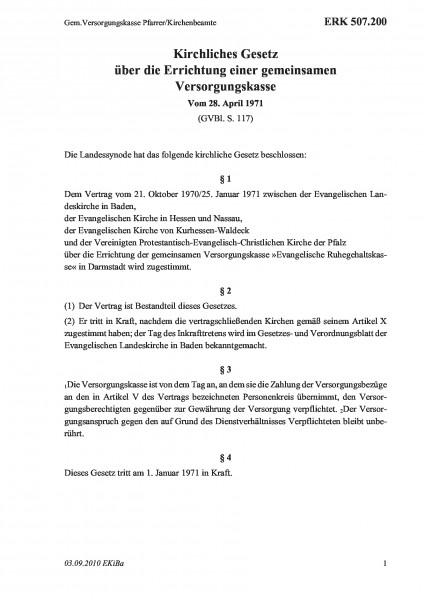 507.200 Gem.Versorgungskasse Pfarrer/Kirchenbeamte