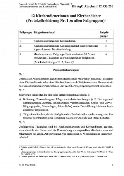 930.220 Anlage 2 zur AR-M KEntgO, Buchstabe A, Abschnitt 12 (Kirchendienerinnen und Kirchendiener)