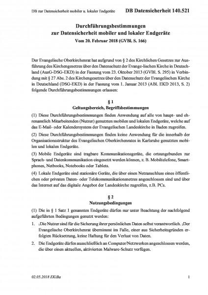140.521 DB zur Datensicherheit mobiler u. lokaler Endgeräte