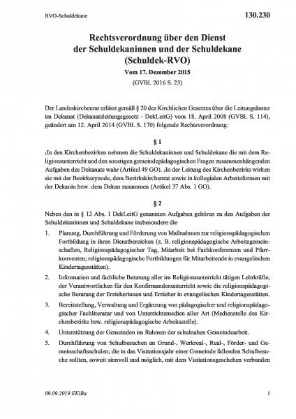 130.230 RVO-Schuldekane