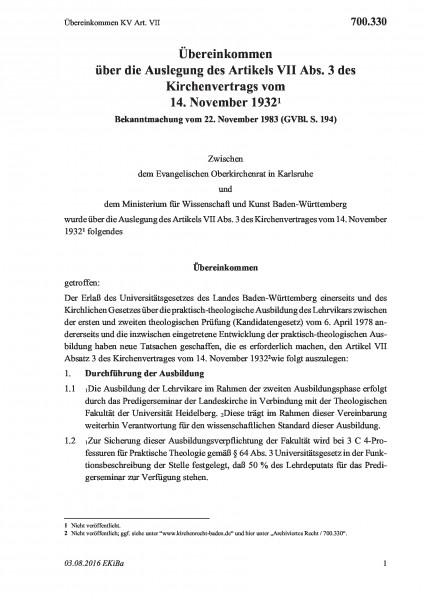 700.330 Übereinkommen KV Art. VII