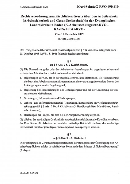 490.410 K-Arbeitsschutzgesetz-RVO