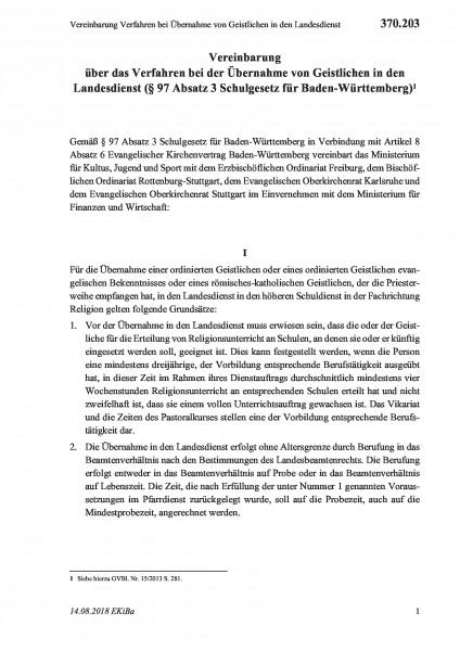 370.203 Vereinbarung Verfahren bei Übernahme von Geistlichen in den Landesdienst