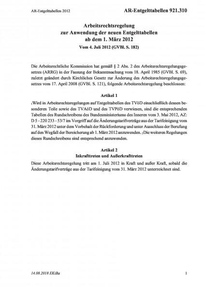 921.310 AR-Entgelttabellen 2012