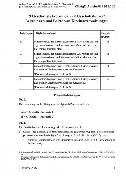 930.202 Anlage 2 zur AR-M KEntgO, Buchstabe A, Abschnitt 9 (Geschäftsführer./Leiterinnen und Leiter