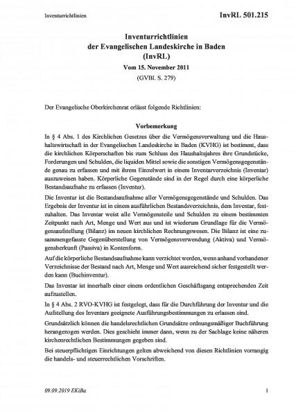 501.215 Inventurrichtlinien