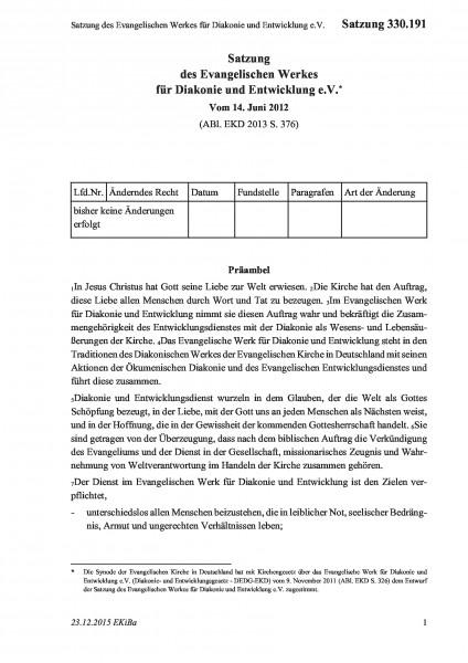 330.191 Satzung des Evangelischen Werkes für Diakonie und Entwicklung e.V.
