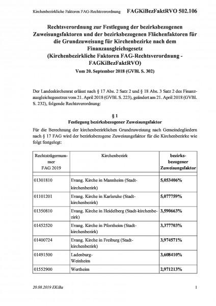 502.106 Kirchenbezirkliche Faktoren FAG-Rechtsverordnung