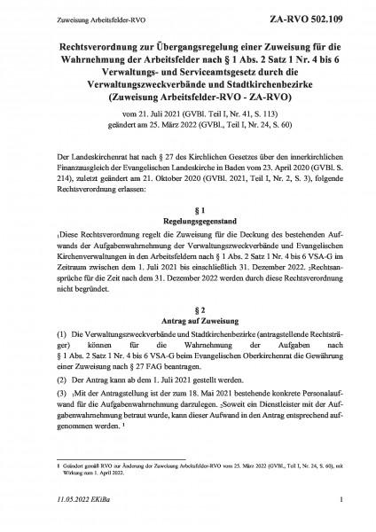 502.109 Zuweisung Arbeitsfelder-RVO