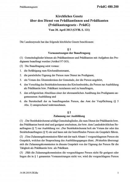 480.200 Prädikantengesetz