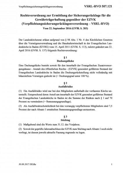 507.121 Verpflichtungssicherungsrücklagenverordnung