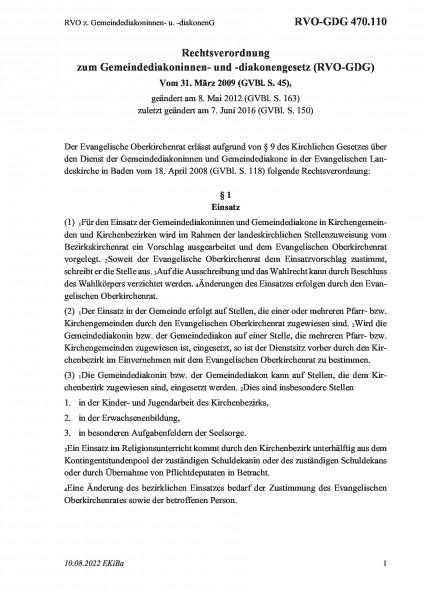 470.110 RVO z. Gemeindediakoninnen- u. -diakonenG