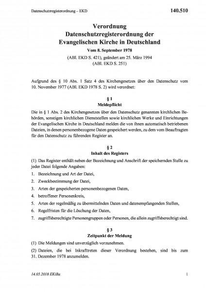140.510 Datenschutzregisterordnung – EKD