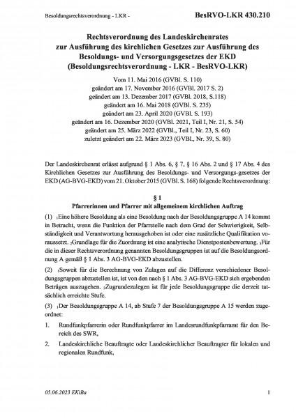 430.210 Besoldungsrechtsverordnung - LKR -