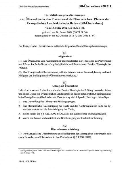 420.311 DB Pfarr-Probedienstübernahme