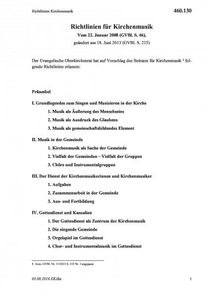 460.130 Richtlinien Kirchenmusik