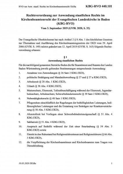 440.101 RVO zur Anw. staatl. Rechts im Kirchenbeamtenrecht EkiBa