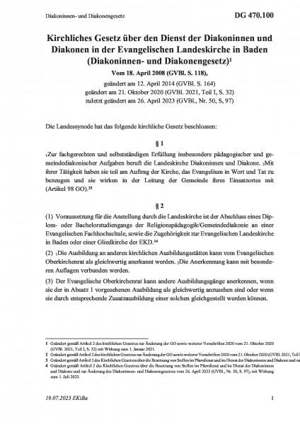 470.100 Diakoninnen- und Diakonengesetz