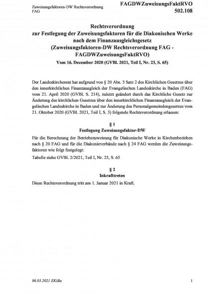 502.108 Zuweisungsfaktoren-DW Rechtsverordnung FAG