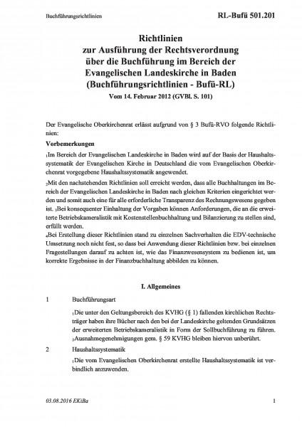 501.201 Buchführungsrichtlinien