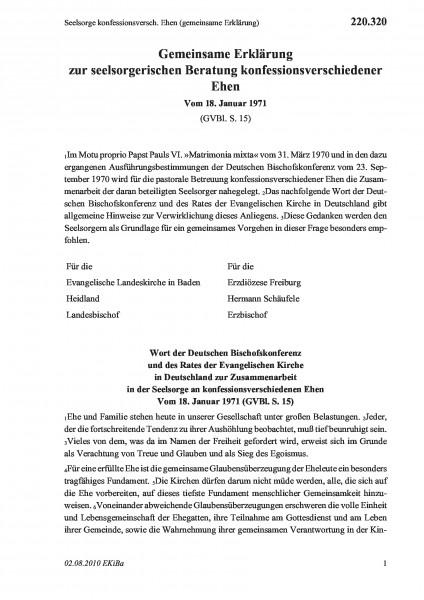 220.320 Seelsorge konfessionsversch. Ehen (gemeinsame Erklärung)