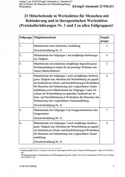 930.611 Anlage 2 zur AR-M KEntgO, Buchstabe A, Abschnitt 23 (Ma in Werkst. für Menschen mit Behinder