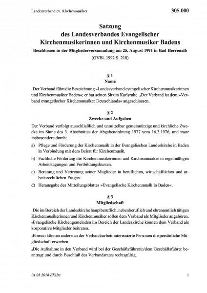 305.000 Landesverband ev. Kirchenmusiker