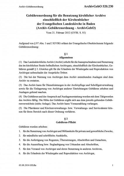 520.230 Archiv-Gebührenordnung