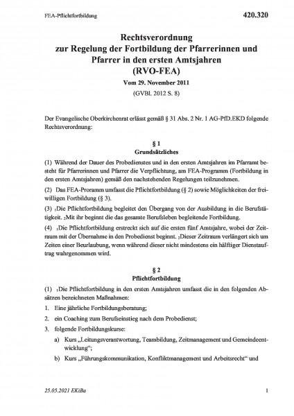 420.320 FEA-Pflichtfortbildung