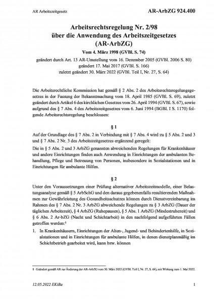 924.400 AR Arbeitszeitgesetz