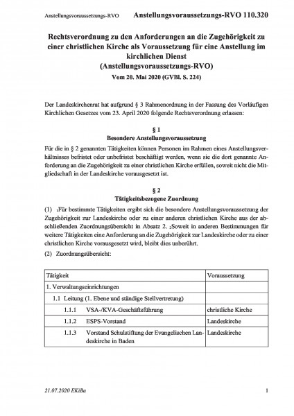 110.320 Anstellungsvoraussetzungs-RVO
