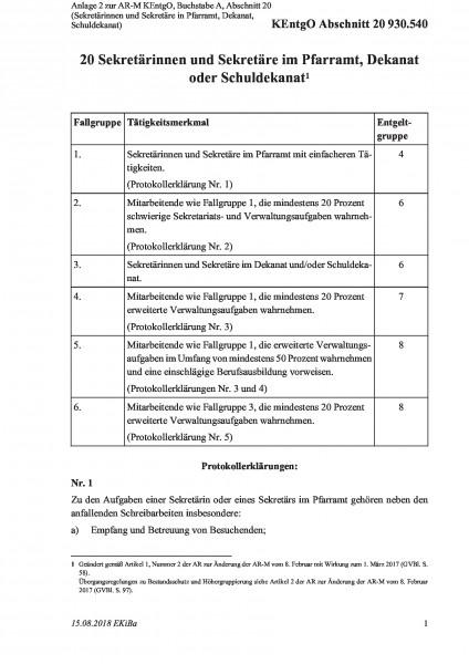 930.540 Anlage 2 zur AR-M KEntgO, Buchstabe A, Abschnitt 20 (Sekretärinnen und Sekretäre in Pfarramt