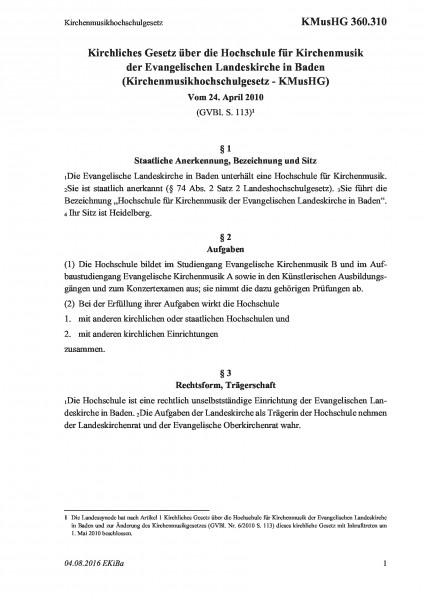 360.310 Kirchenmusikhochschulgesetz
