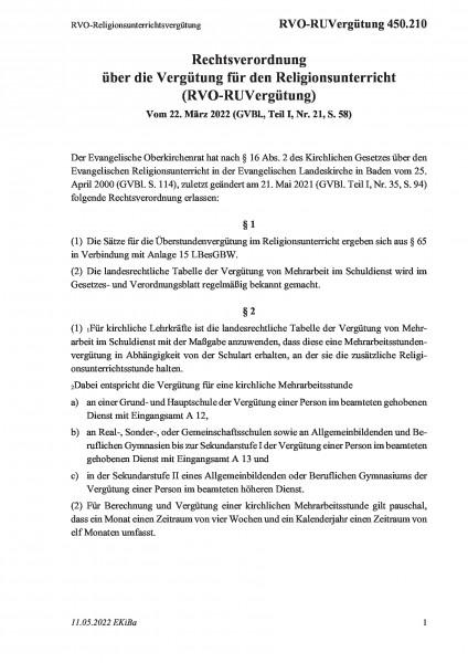 450.210 RVO-Religionsunterrichtsvergütung