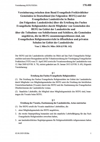 170.400 Vereinbarung BEFG/EKIBA