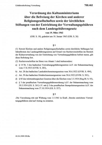 700.461 Gebührenbefreiung Verwaltung