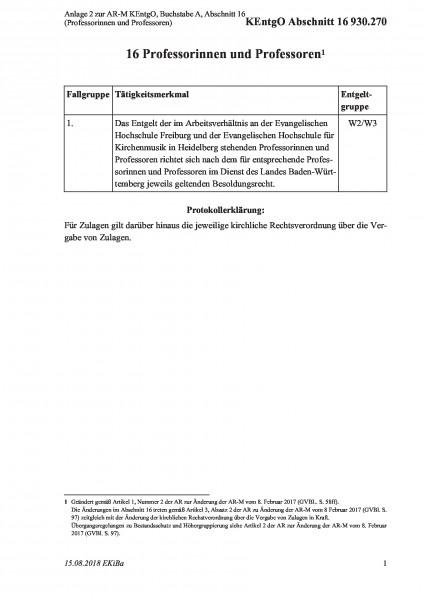 930.270 Anlage 2 zur AR-M KEntgO, Buchstabe A, Abschnitt 16 (Professorinnen und Professoren)