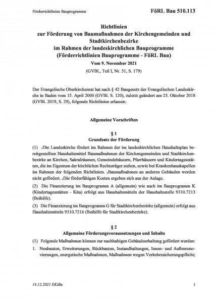510.113 Förderrichtlinien Bauprogramme