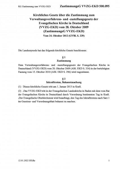 500.095 KG Zustimmung zum VVZG-EKD
