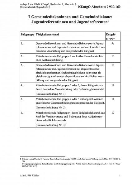 930.160 Anlage 2 zur AR-M KEntgO, Buchstabe A, Abschnitt 7 (Gemeindediak./Jugendrefer.)