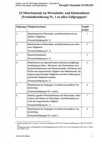 930.620 Anlage 2 zur AR-M KEntgO, Buchstabe A, Abschnitt 24 (MA im Wirtschafts- und Küchendienst)