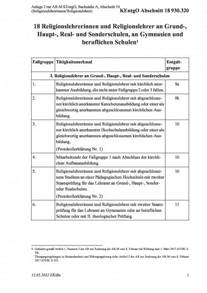 930.320 Anlage 2 zur AR-M KEntgO, Buchstabe A, Abschnitt 18 (Religionslehrerinnen/Religionslehrer)