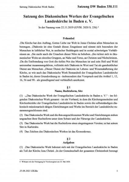 330.111 Satzung Diakonisches Werk Baden