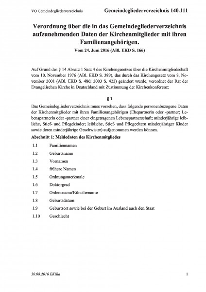140.111 VO Gemeindegliederverzeichnis