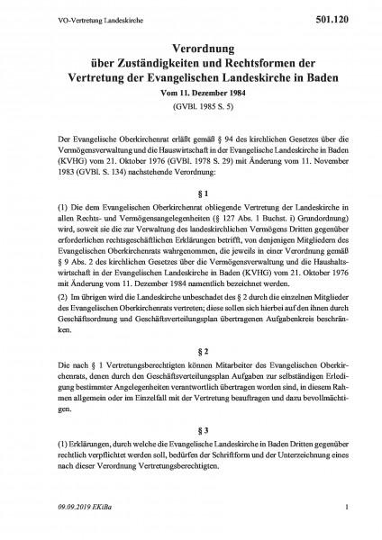 501.120 VO-Vertretung Landeskirche