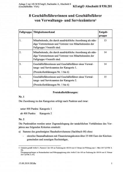 930.201 Anlage 2 zur AR-M KEntgO, Buchstabe A, Abschnitt 8 (Geschäftsführ. VSA)