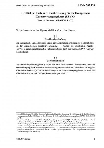 507.120 Kirchl. Gesetz zur Gewährleistung für die EZVK