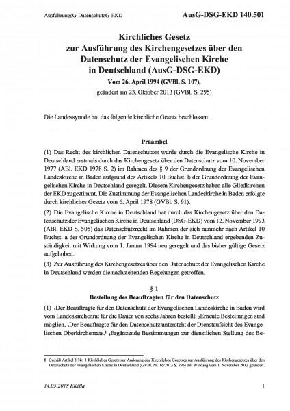 140.501 AusführungsG-DatenschutzG-EKD