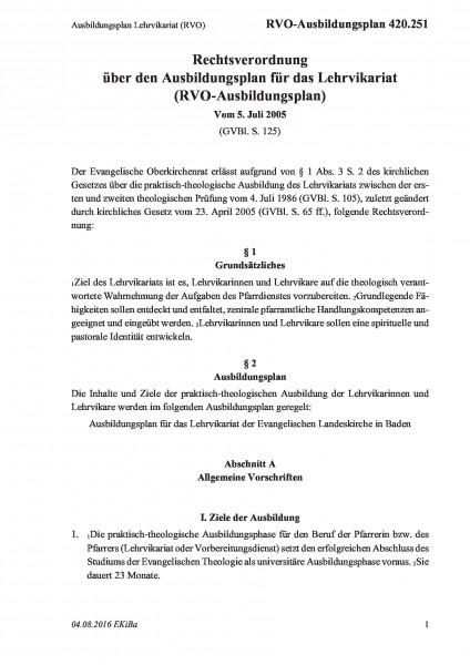 420.251 Ausbildungsplan Lehrvikariat (RVO)